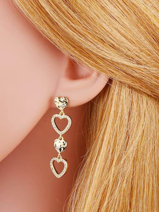 CC Brass Cubic Zirconia Tassel Minimalist Drop Earring 2