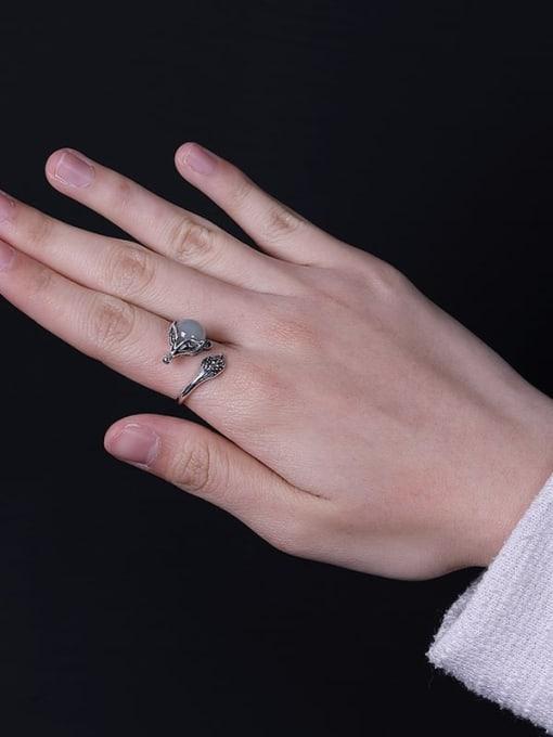 DEER 925 Sterling Silver Jade Fox Vintage Band Ring 3
