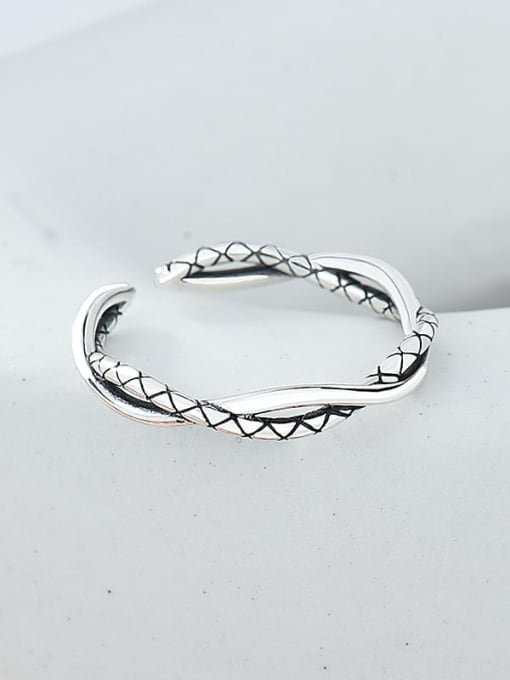 Whip ring 925 Sterling Silver Twist Irregular Vintage Band Ring