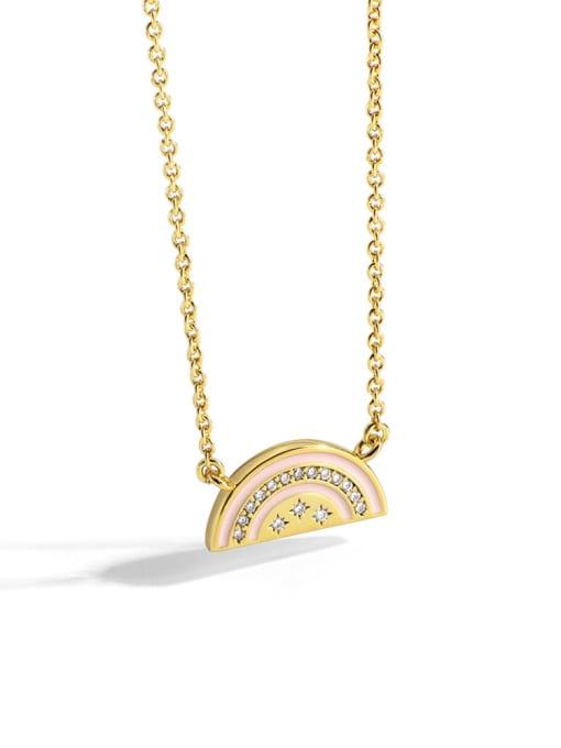 Gold rainbow Oil Drop Necklace Brass Rhinestone Enamel Geometric Minimalist  Rainbow Oil Drop  Necklace