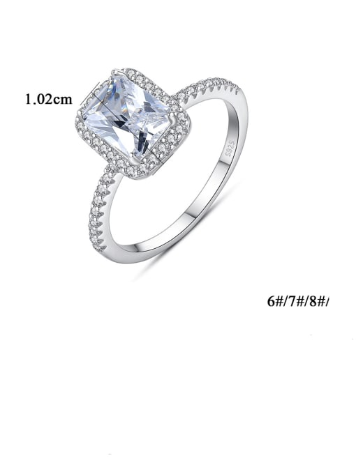 CCUI 925 Sterling Silver Cubic Zirconia Geometric Minimalist Band Ring 3