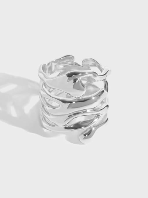 DAKA 925 Sterling Silver Hollow Irregular Vintage Stackable Ring 0