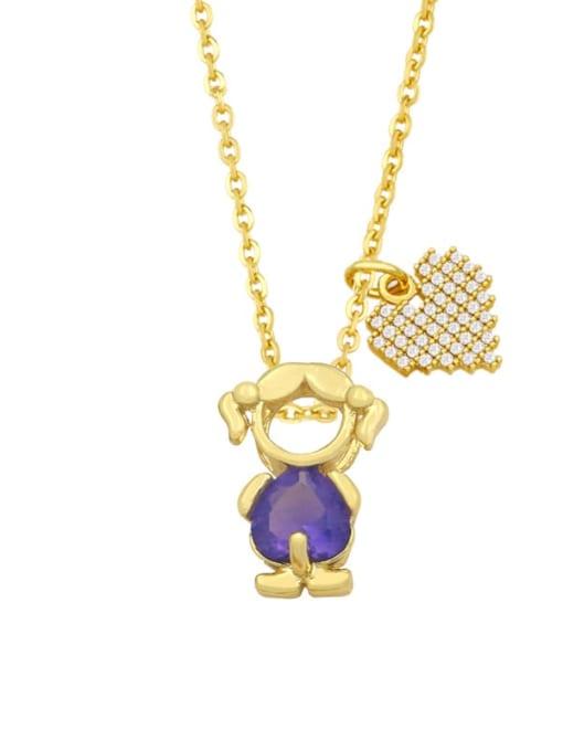 C (Girl Purple) Brass Cubic Zirconia Enamel Angel Cute Necklace