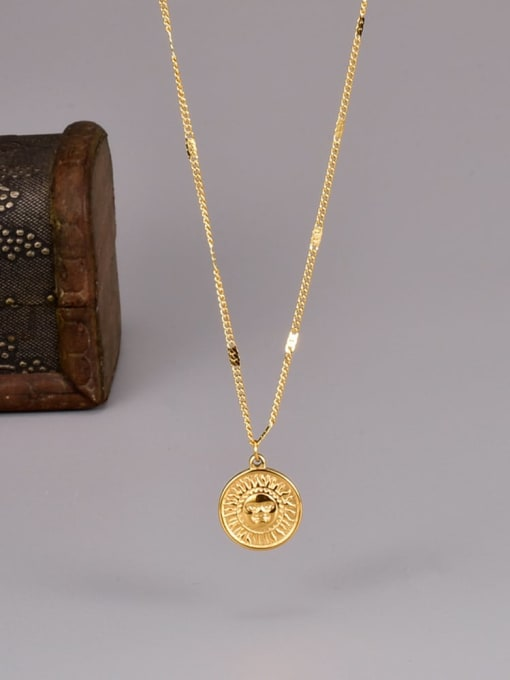 A TEEM Titanium Steel Sun Smiley Minimalist Necklace