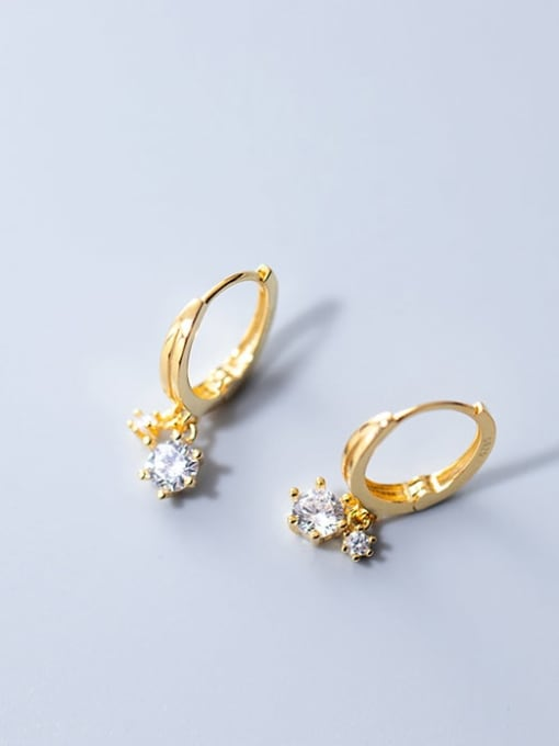 gold 925 Sterling Silver Cubic Zirconia Round Minimalist Huggie Earring