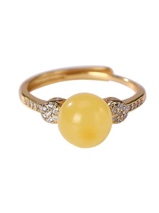 DEER 925 Sterling Silver Jade Round Minimalist Band Ring