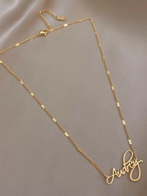 A TEEM Titanium Steel  Hollow Letter Minimalist Necklace 3
