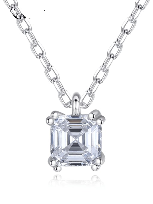 CCUI 925 Sterling Silver Cubic Zirconia Geometric Minimalist pendant Necklace 0