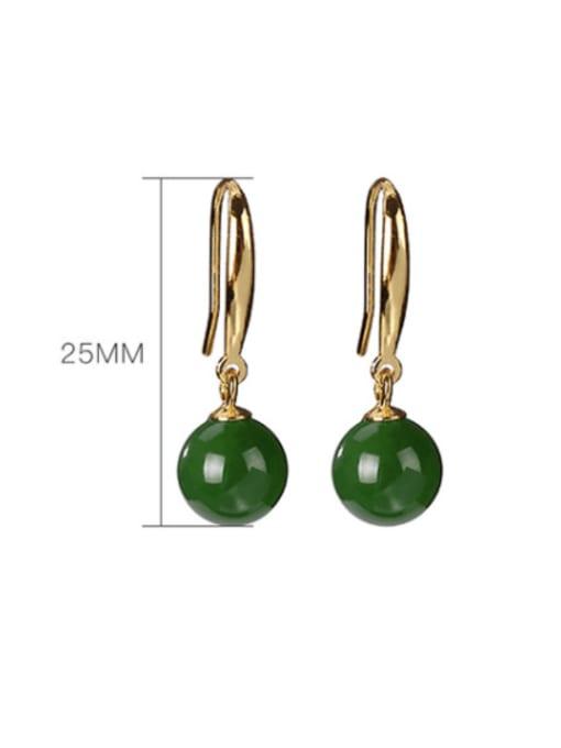 DEER 925 Sterling Silver Jade Geometric Vintage Hook Earring 3