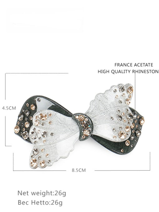 HUIYI Cellulose Acetate Cute Butterfly Zinc Alloy Spring clip Hair Barrette 3