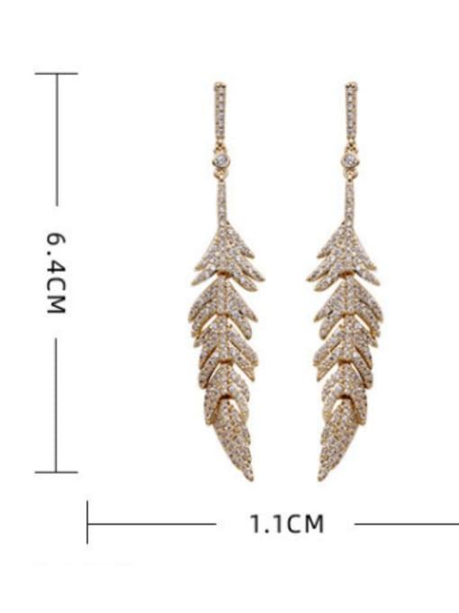 Luxu Brass Cubic Zirconia Leaf Vintage Drop Earring 4