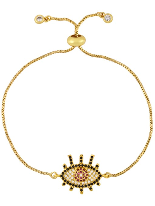 C Brass Cubic Zirconia Evil Eye Vintage Link Bracelet