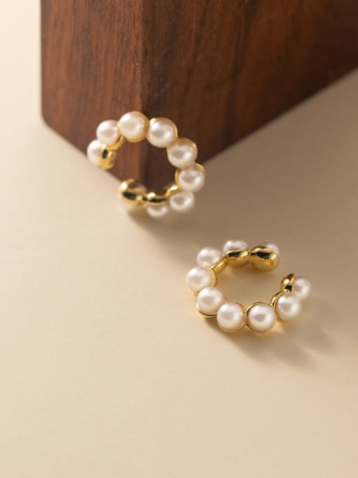 Rosh 925 Sterling Silver Imitation Pearl Geometric Vintage  Clip Earring (Single) 2
