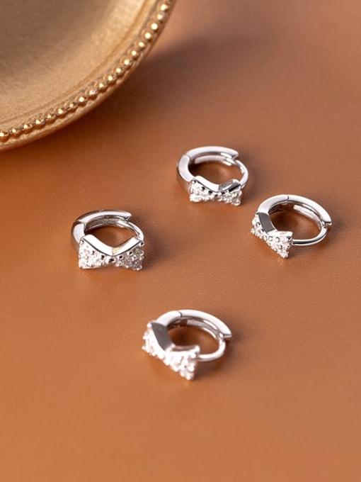 Rosh 925 Sterling Silver Cubic Zirconia Bowknot Minimalist Huggie Earring