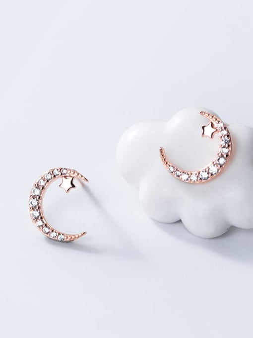 Rosh 925 Sterling Silver Rhinestone Moon Minimalist Stud Earring 1