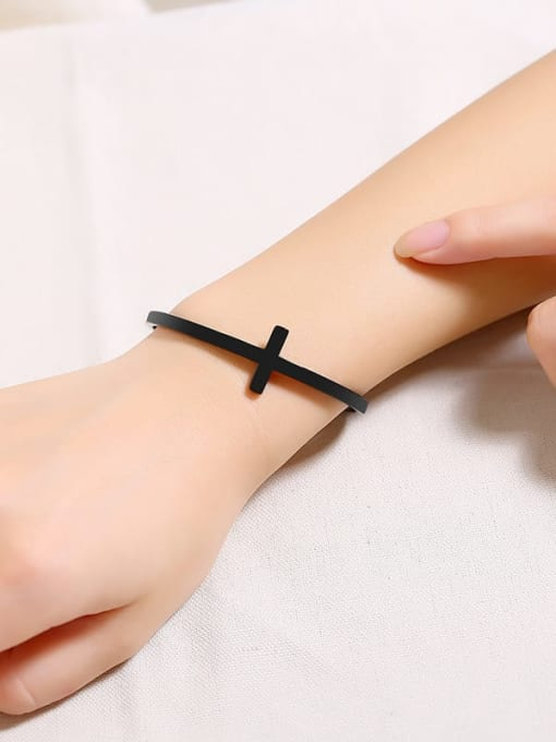 CONG Stainless steel  Smooth Cross Minimalist Cuff Bangle 1