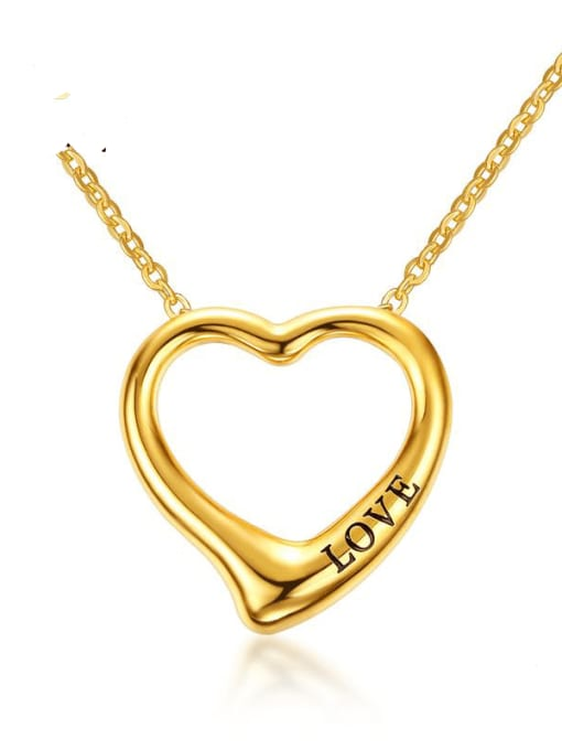 CONG Stainless steel Hollow Heart Minimalist Necklace