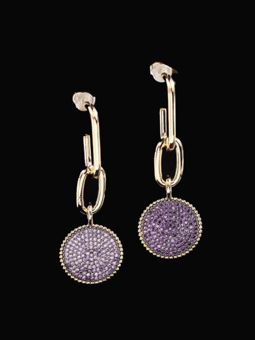 Purple zirconium Brass Cubic Zirconia Geometric Statement Drop Earring