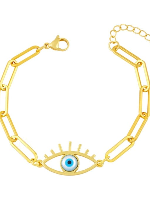 CC Brass Enamel Evil Eye Hip Hop Link Bracelet 2