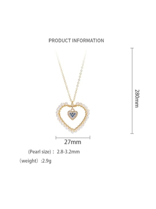 Necklace Brass Freshwater Pearl Minimalist Heart  Earring and Necklace Set