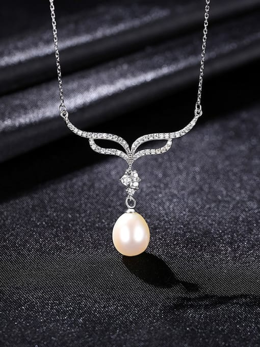 White 8B07 925 Sterling Silver Freshwater Pearl Flower Minimalist Necklace