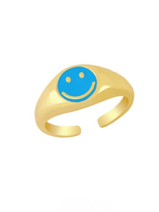 CC Brass Enamel Smiley Hip Hop Band Ring 2