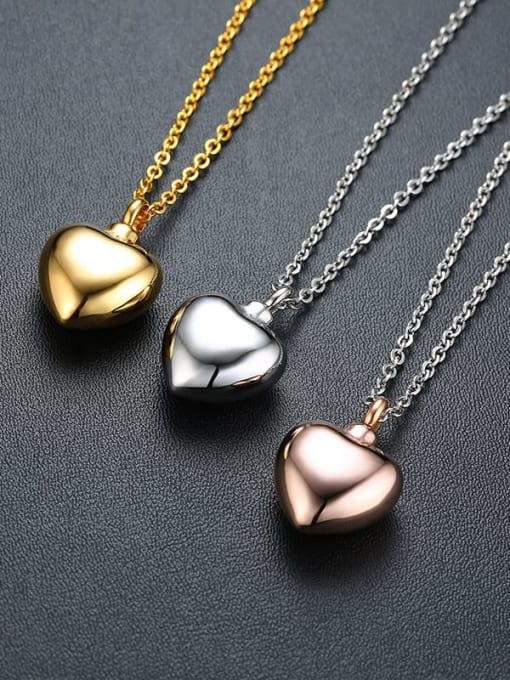 CONG Titanium Steel Smooth Heart Minimalist  Pendant Necklace 1