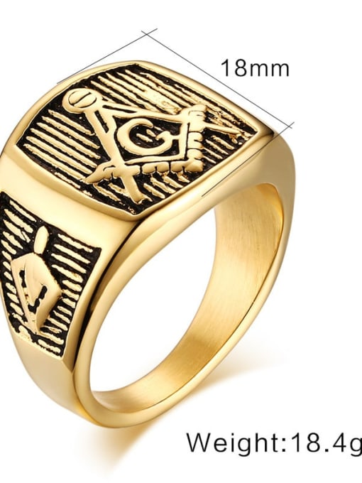 CONG Stainless steel Geometric Vintage Band Ring 1