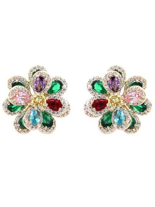 Luxu Brass Cubic Zirconia Flower Trend Stud Earring 2