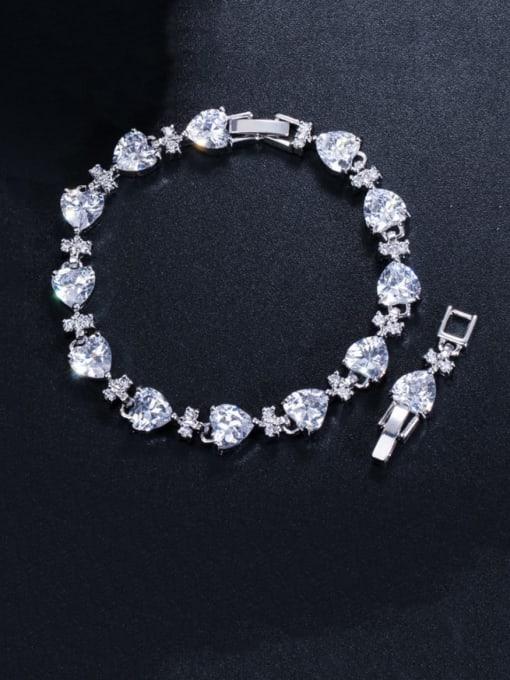 white Brass Cubic Zirconia Heart Classic Bracelet