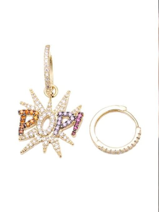 Luxu Brass Cubic Zirconia Letter Ethnic Huggie Earring 2