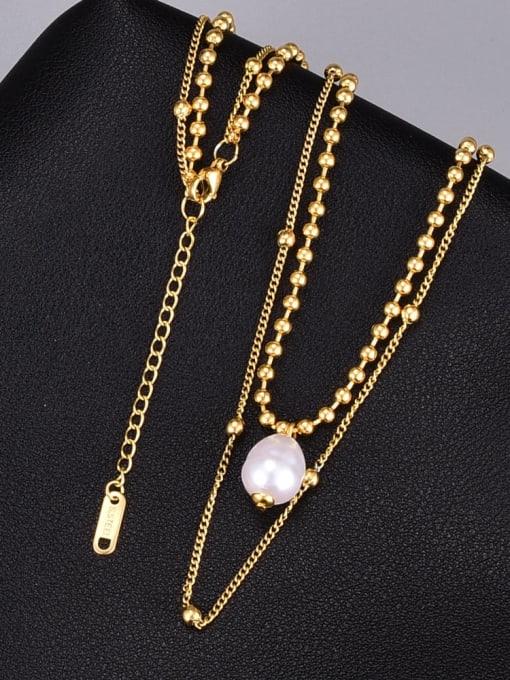A TEEM Titanium Steel Imitation Pearl Round Vintage Multi Strand Necklace 1