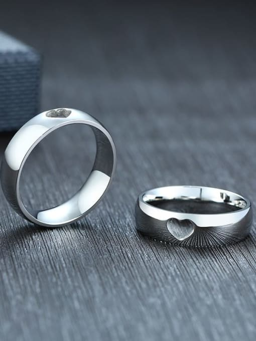 CONG Stainless steel Heart Minimalist Couple Ring 2