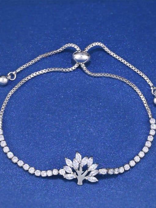 platinum Brass Cubic Zirconia Tree Minimalist Adjustable Bracelet