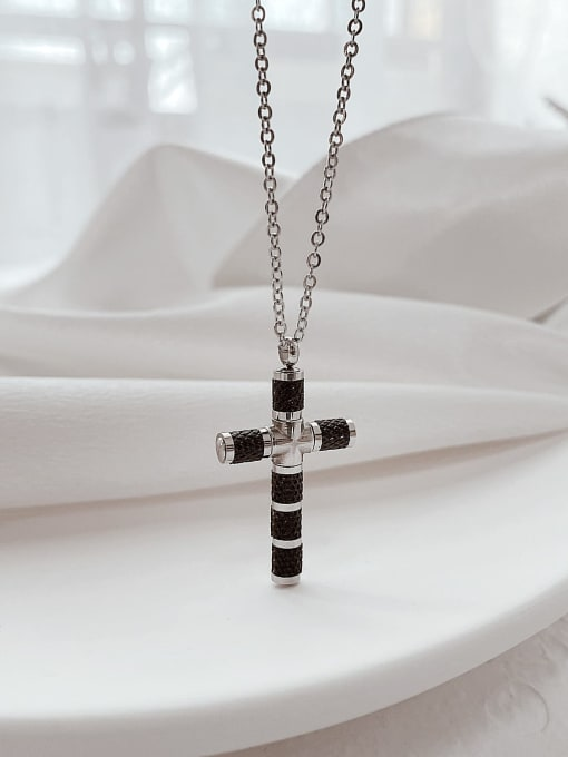 Open Sky Titanium Steel Cubic Zirconia Cross Minimalist Necklace 3