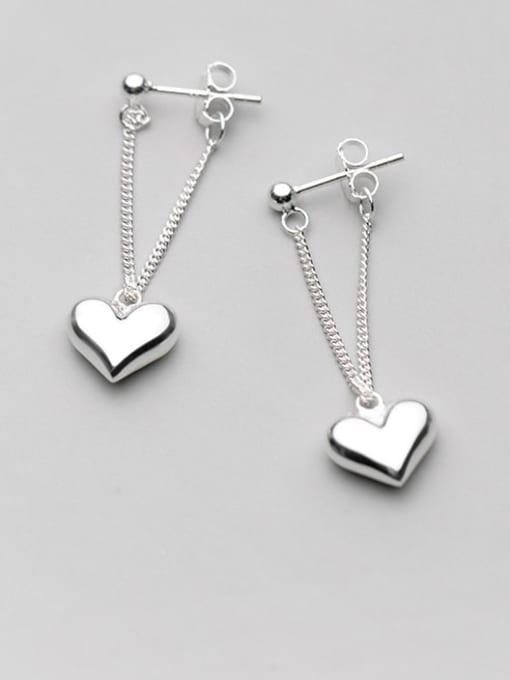 Rosh 925 Sterling Silver smooth Heart Minimalist Drop Earring