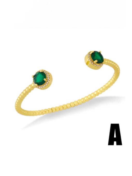 A (green) Brass Cubic Zirconia Snake Vintage Cuff Bangle