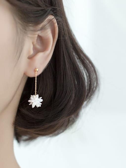 Rosh 925 Sterling Silver Imitation Crystal Flower Hip Hop Threader Earring 1