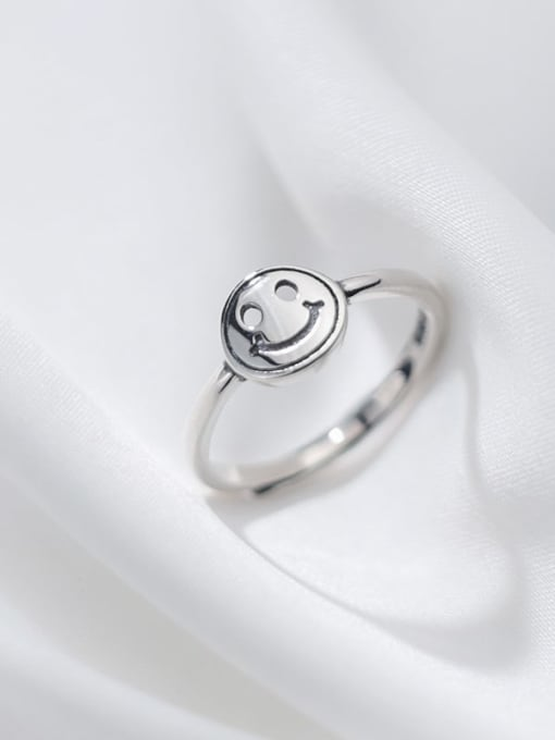 Rosh 925 Sterling Silver Hollow Face Cute Band Ring 2