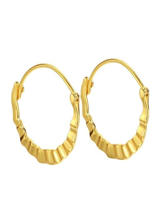 CHARME Brass Smooth Geometric Vintage Huggie Earring 3