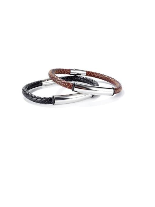 Open Sky Titanium Steel Leather Geometric Hip Hop Woven Bracelet 0