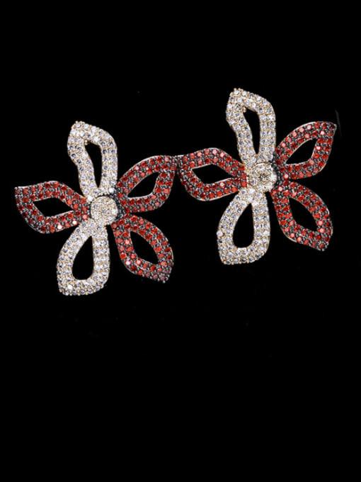 Red + white flowers Brass Cubic Zirconia Flower Luxury Stud Earring