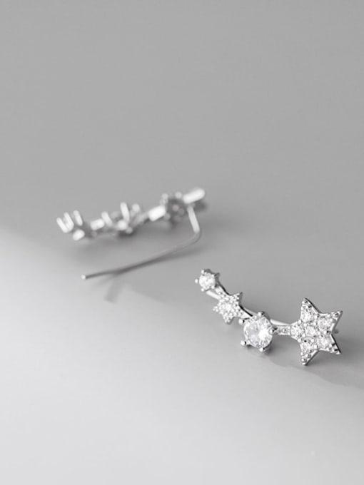 Rosh 925 Sterling Silver Cubic Zirconia Star Cute Stud Earring 1