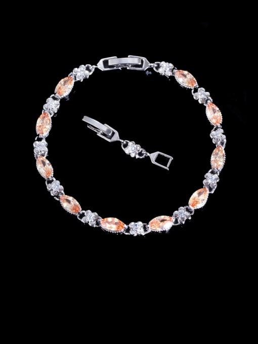 champagne Brass Cubic Zirconia Geometric Luxury Bracelet