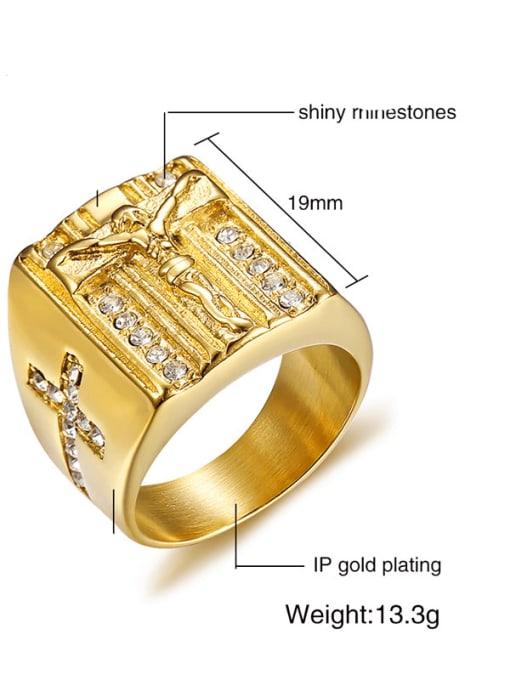 CONG Titanium Steel Geometric Vintage Band Ring 2