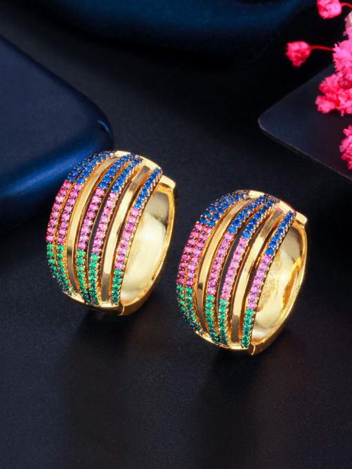 L.WIN Brass Cubic Zirconia Geometric Luxury Stud Earring 4