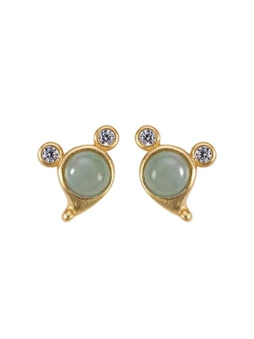 DEER 925 Sterling Silver Jade Mouse Vintage Stud Earring 0