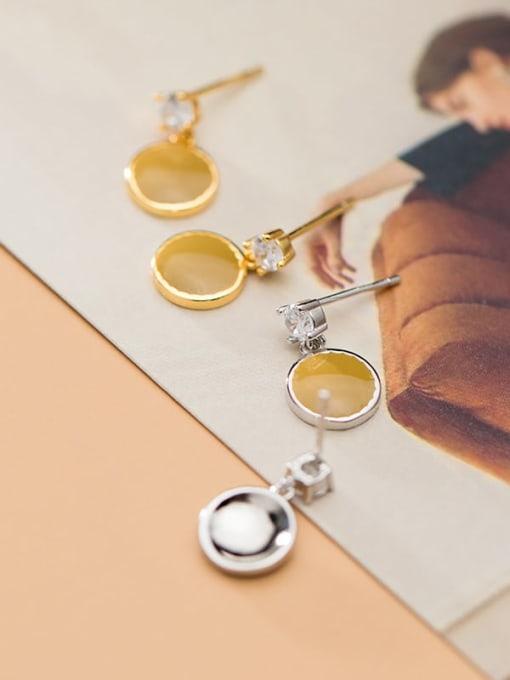 Rosh 925 Sterling Silver Enamel Geometric Minimalist Drop Earring 1