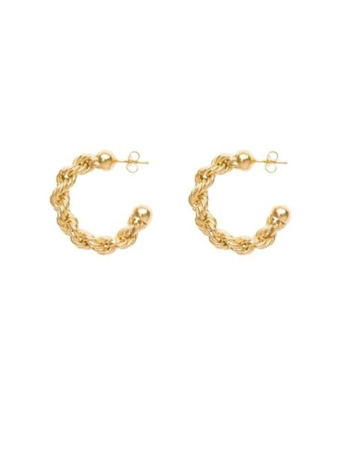 LI MUMU Brass  Twist Geometric Vintage Hoop Earring
