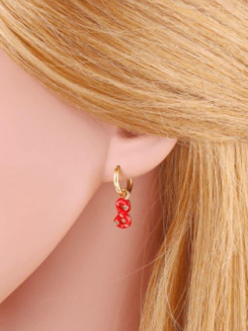 CC Brass Rhinestone Enamel Number 8 Trend Huggie Earring 1
